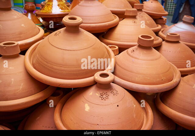 Tajine, traditional clay pot using to prepare vegetables with meat (tajine). Morocco - Stock Image