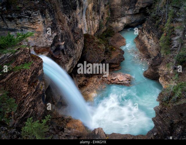 Stanely Falls, Beauty Creek, Jasper National Park, Alberta Canada - Stock Image