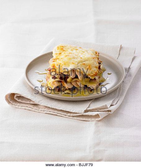 Aubergine and chicken lasagne - Stock Image