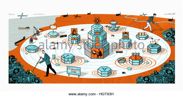 Businessman and businesswoman sweeping away old industry from new science and technology economic development zone - Stock-Bilder
