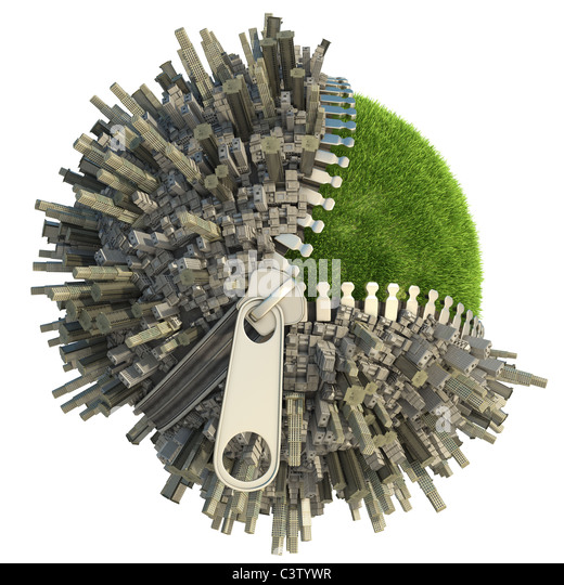 conceptual miniature planet with an open zip fastener for environmental change isolated on white - Stock Image