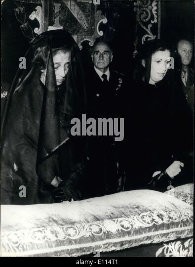 Nov. 23, 1975 - They are at General Franco's funeral at the Palace of Pardo's Chapel. General de Villavicencio, - Stock Image