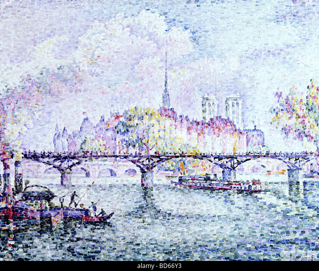 "fine arts, Signac, Paul, (1863 - 1935), painting, ""Paris, Ile de la Cite"", 1912, oil on canvas, Museum - Stock Image"