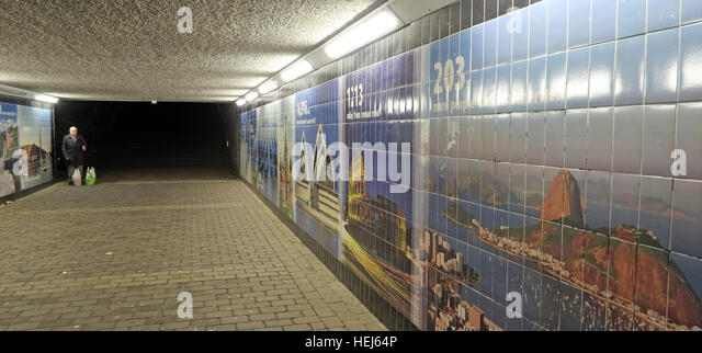 Motherwell Town Centre Underpass at night,Lanarkshire,Scotland,UK -person walking through - Stock Image
