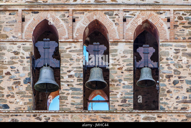 Three Bells in Bell Tower, Guadalupe Belfry, Caceres, Extremadura, Spain - Stock Image