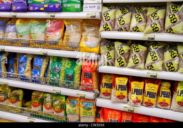 Mendoza Argentina Villa Nueva Mendoza Plaza Shopping grocery store supermarket business shopping shelf shelves lentils - Stock Image