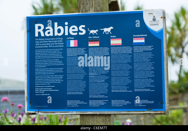 Rabies warning sign Padstow Harbour Cornwall England UK GB EU Europe - Stock Image