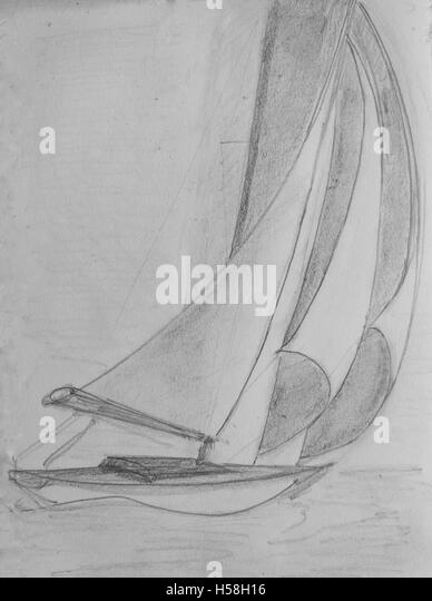 Sketch: Sail boat broad reach - Stock Image