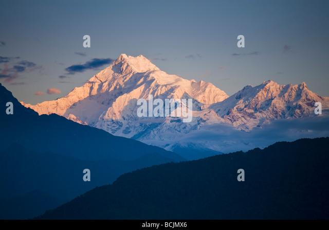 India, Sikkim, Gangtok, Ganesh Tok viewpoint,  View of Kanchenjunga,  Kangchendzonga range - Stock-Bilder