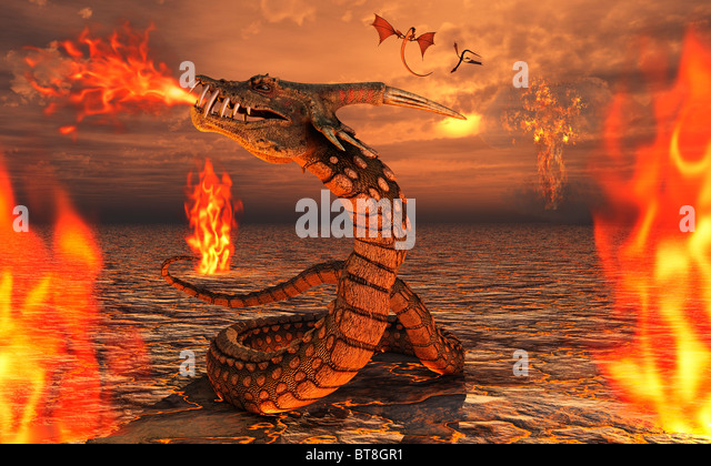 Serpent Dragons - Stock Image