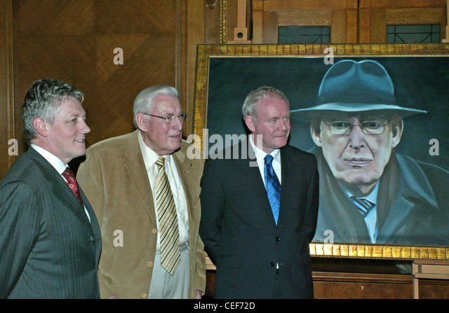 Unveiling of a portrait of Ian Paisley . Peter Robinson, Rev Dr Ian Paisley  & Martin McGuinness at the  at - Stock Image
