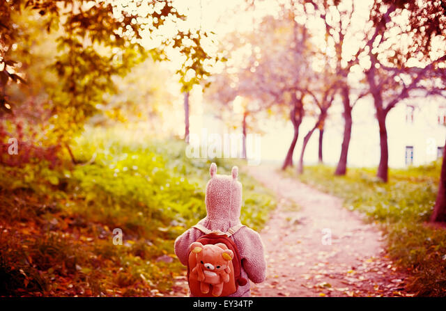 Cute Little Kid in Funny Jacket with Animal Ears on Hood and Teddy Bear Backpack Travelling in the Park. View from - Stock-Bilder