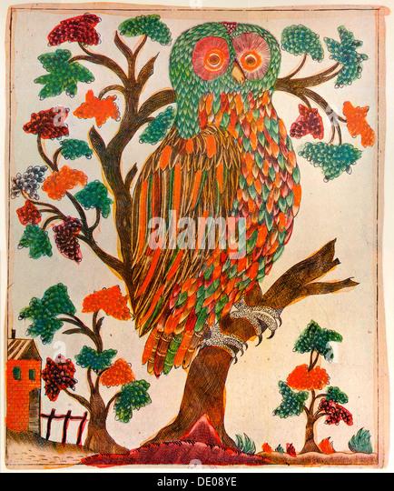 Owl, Lubok print, 1800. - Stock Image