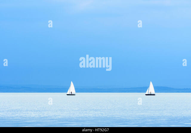 Lake with Sailboats at Weiden, Lake Neusiedl, Burgenland, Austria - Stock-Bilder