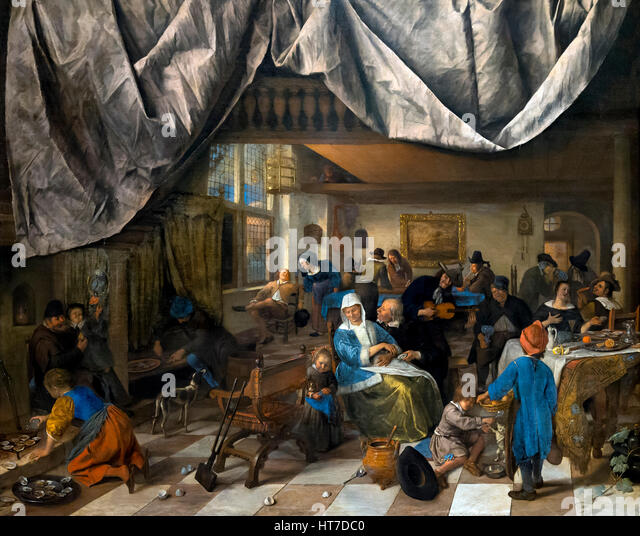 The Life of Man, by Jan Steen, circa 1665, Royal Art Gallery, Mauritshuis Museum, The Hague, Netherlands, Europe - Stock Image