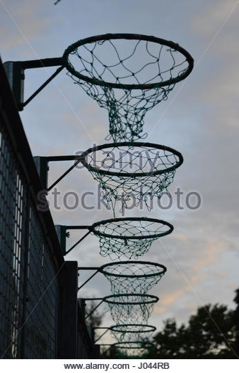 Basketball Netball Hoops in a row - Stock Image