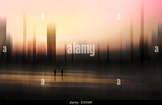 Scenic view with distorted landscape and sky with silhouetted figures - Stock Image
