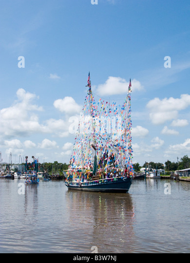 Boat decorated for Blessing of the fleet during Shrimp Festival Delcambre LA Aug 17 2008 - Stock Image