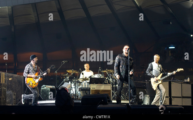 (l-r) The Edge, Larry Mullen Jr, Bono and Adam Clayton performing during The U2 360° Tour at Hampden Park, - Stock Image