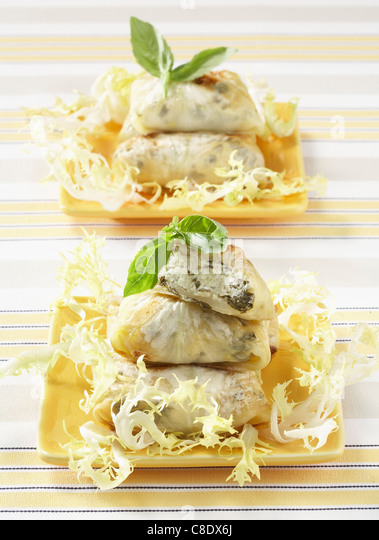 Small crunchy cabbage pastry pies - Stock Image