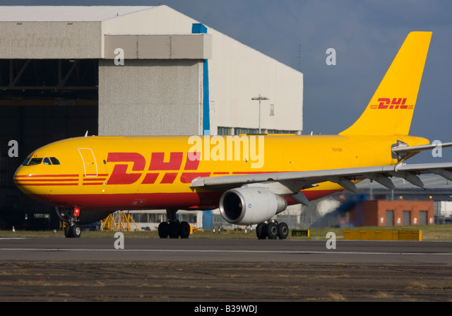 DHL European Air Transport - EAT Airbus A300B4-103(F) taxiing for departure at London Heathrow, United Kingdom - Stock Image