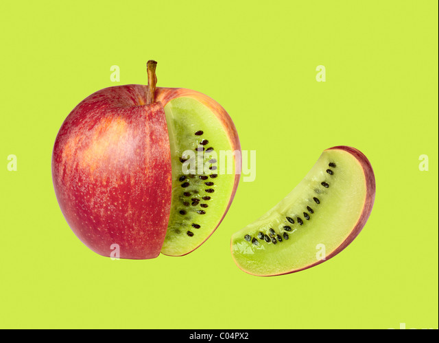 transgenic apple kiwi isolated on green background - Stock-Bilder