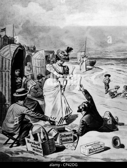 bathing, seaside resort, party on the beach, wood engraving by R. Sperl, Germany, 1899, people, festivity, sparkling - Stock Image