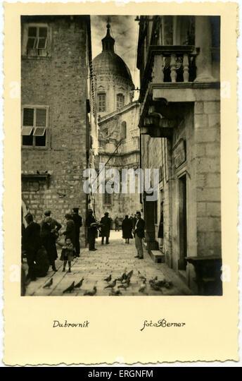 Dubrovnik street in 1930s. Postcard dated 1936. Croatia - Stock Image