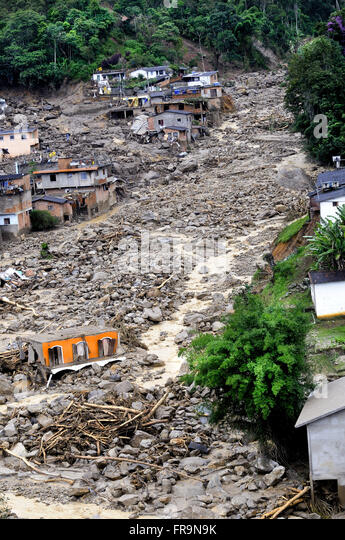 Aerial view of the destruction in the city of Teresopolis caused by landslide slopes - Stock Image