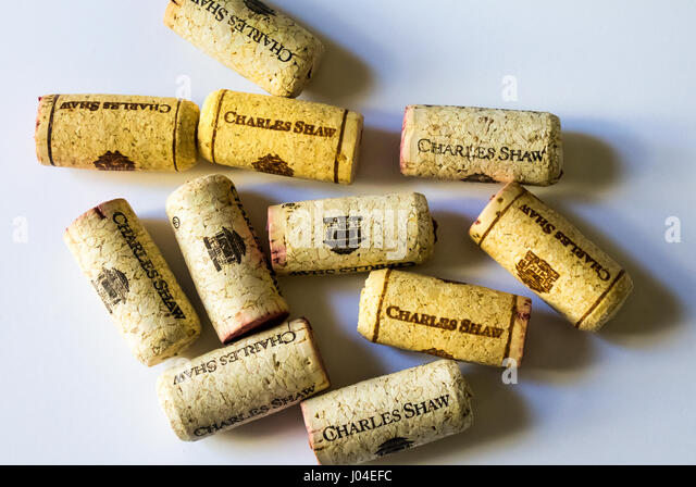 Corks from bottles of Trader Joe's three buck chuck wine - Stock Image
