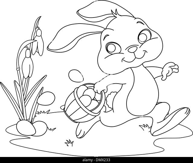 Mrs Bunny With A Basket Of Easter Eggs Coloring Page: Eggs Basket Black And White Stock Photos & Images