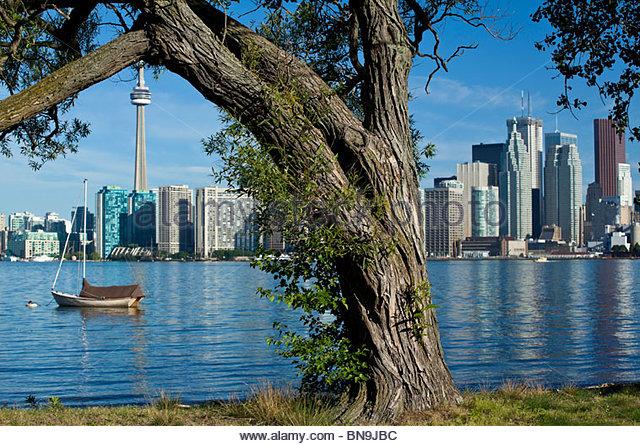 Toronto Island Park with skyline in Toronto Ontario Canada - Stock Image