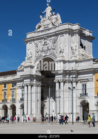 Praca do Comercio (Commerce Square) in the city of Lisbon, Portugal. - Stock Image
