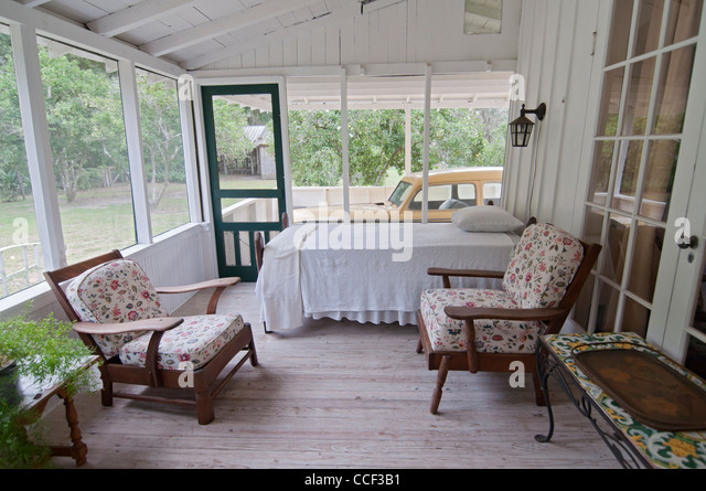 Marjorie Kinnan Rawlings Historic State Park, Cross Creek, Florida.  The porch where Marjorie wrote & slept - Stock Image