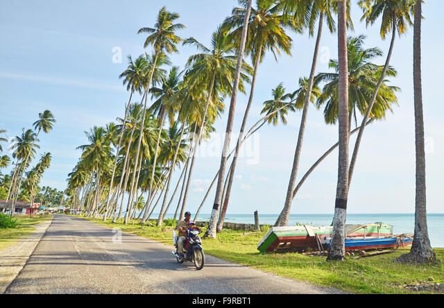 A street by the beach situation in Biduk-Biduk village, Berau, East Borneo - Stock Image