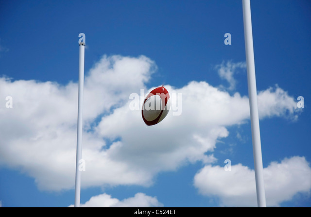 Rugby Ball Going through goal - Stock Image