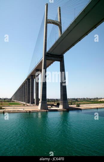 El Qantara bridge over the Suez Canal. Egypt. Also known as the Bridge of Peace or Peace bridge. - Stock Image