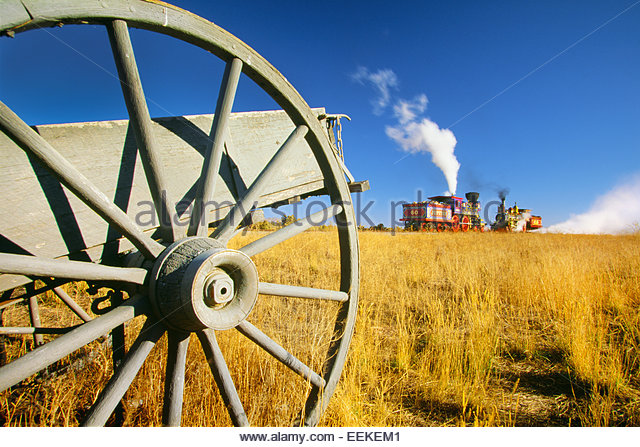 Locomotives that met on May 10, 1869 , for completion of transcontinental railway.  Golden Spike National Historic - Stock Image