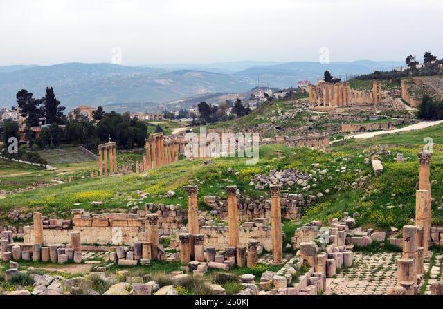 The ancient Roman city of Jerash in Jordan during spring. - Stock Image