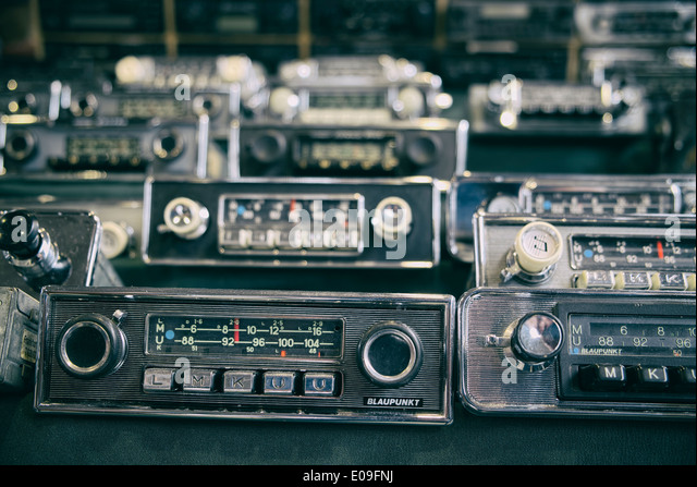 Old car radios for sale - Stock Image