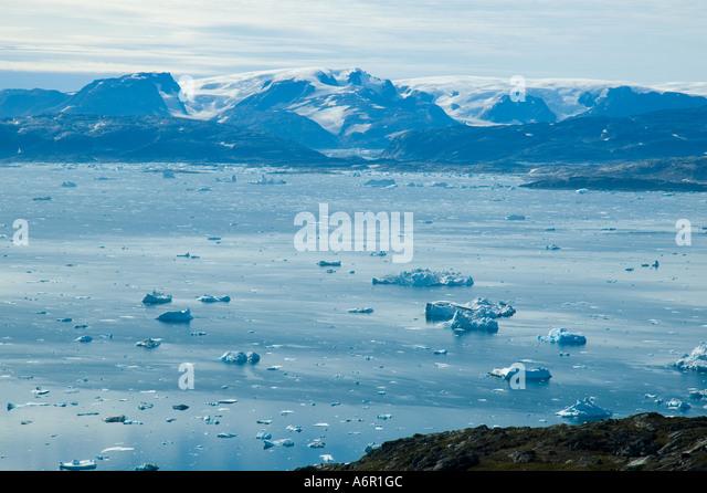 Looking across Sermilik Fjord from the Tiniteqilâq ridge, East Greenland - Stock Image