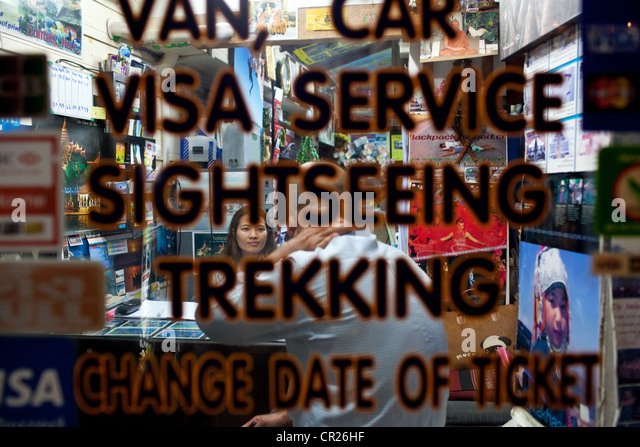 A travel agency near Khao San Road, the backpacker capital of the universe, Bangkok, Thailand. - Stock-Bilder