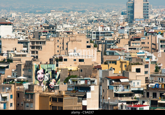 Athens skyline seen from the Acropolis. Greece. 2011. - Stock-Bilder