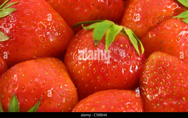 fresh ripe strawberries full frame background - Stock-Bilder