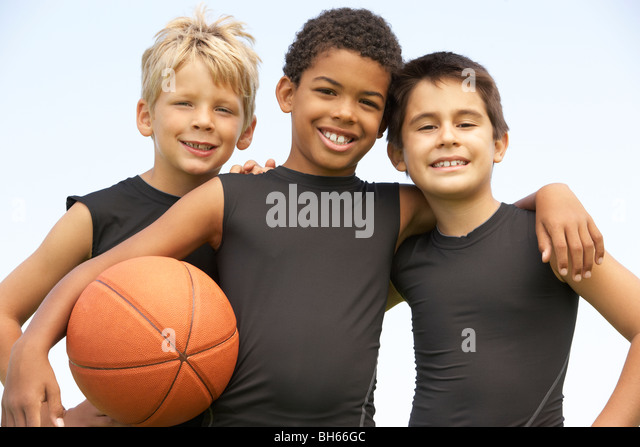 Young Boys In Basketball Team - Stock Image