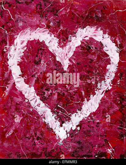 Heart Shape abstract painting - Stock Image