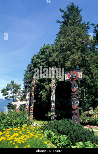 Vancouver Canada Stanley Park Totem Poles - Stock Image