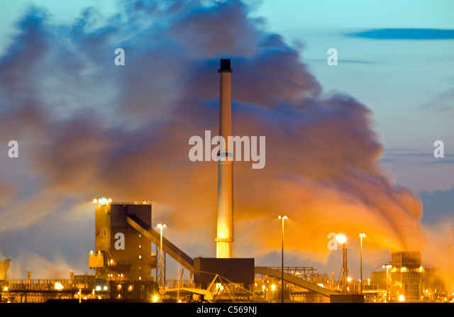 The Netherlands, IJmuiden, Tata Steel factory, blast furnaces. Sunrise. - Stock Image