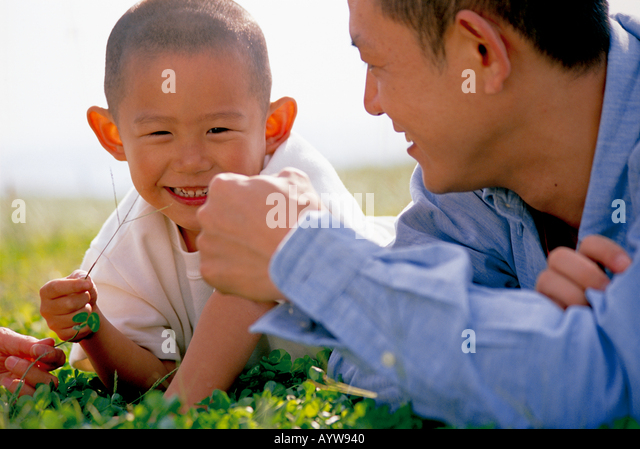 Father lying down in the meadow with his son - Stock-Bilder