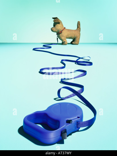 A toy dog on a lead - Stock Image